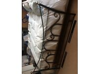 King size metal headboard, black and pale gold.