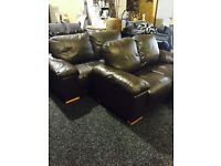 brown leather 3/2 suite