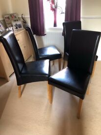 Dining Chairs. Black Leather.