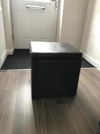 NEXT dark brown faux leather storage cube