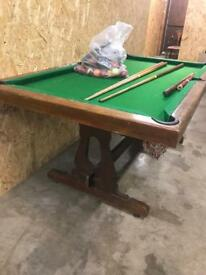Vintage slate bed pool table