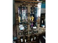 oriental laquard mother of pearl display cabinet forsale