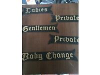 Door signage : set of 5 black metal :