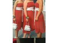 Red and ivory dresses x3