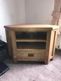 Solid oak corner tv unit with drawer