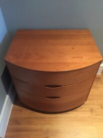 Matching pair solid wood bedside drawers