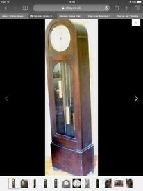 German Urgos Oak 3 Weights Driven Westminster Chimes Grandfather Clock