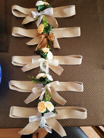 Chair back sashes - 400 hessian sashes with silk flowers
