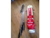 Mitsushiba golf bag and 8 clubs, ideal starter
