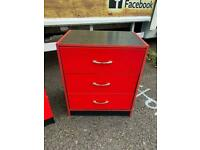 High gloss red and black chest of drawers£40
