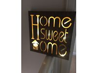 LED LIGHT UP, WOOD EFFECT PICTURE MESSAGES - BRAND NEW