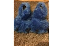 Blue gorilla slippers size 4
