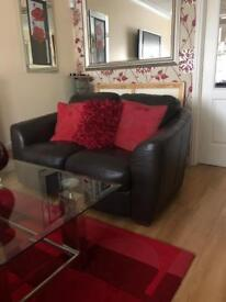 Chocolate leather 3 seater & 2 seater sofas high quality very good condition