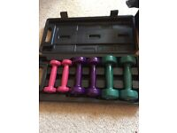 Hand weights in box