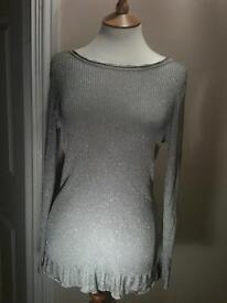 Beautiful Silver Shimmering top - medium size Was £39.99 Now £15