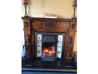 Beautiful Wooden Fire Surround, Cast Iron Insert and Fender