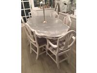 Stunning shabby chic dining table with chairs