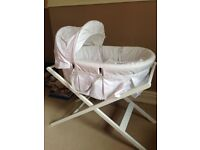 Moses basket with stand; unused in perfect condition.