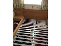 Double oak effect bed frame