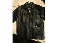 Black leather bench jacket never worn