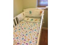 Baby jungle animal nursery bedding, cot bumper, curtains & nappy stacker