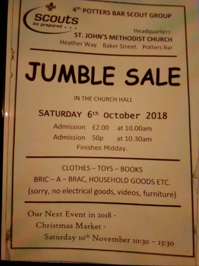 Jumble Sale 4th Potters Bar Cubs And Scouts St John S Church Baker