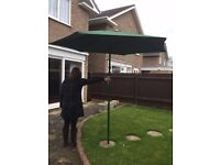 Large Green Garden Parasol with Wind-Up Mechanism