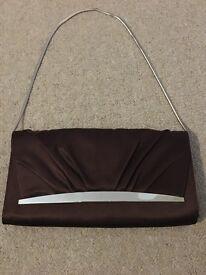 **Jasper Conran** Brown silk evening clutch bag