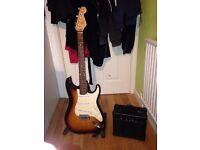 Squire stratocaster Electric guitar with kinsman bb10 10watt amplifier and bag