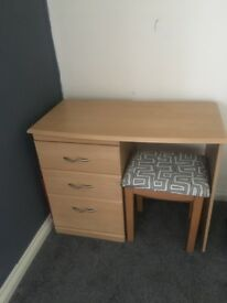 Make up dresser. With draws and stool.