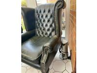 Chair leather high back