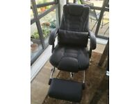 Luxury Extra Padded High Back Reclining Faux Leather Relaxing Swivel Chair With Footrest