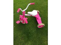 Girls Barbie tricycle,well worn but still a bit of life