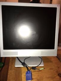"""17"""" FLAT SCREEN PC COMPUTER MONITOR WITH SPEAKERS, cables and Stand. Located in Headington, Oxford"""