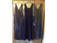Three unworn beautiful purple bridesmaid dresses