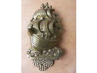 Front door brass knocker - 16th century galleon ship Nautical design