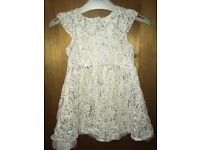 Girl white / silver sparkly party dress : 18 - 24 months :
