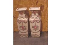 Pair of contemporary floral decorated vases in the famille rose taste