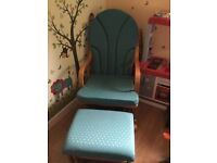 Green rocking chair and foot stool great condition foot stool rocks as well