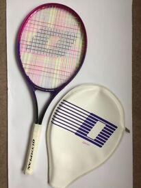 Junior 'Olympian' Tennis Racquet with cover. Pink and purple.
