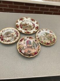 Four Royal Albert ( old country roses ) plates