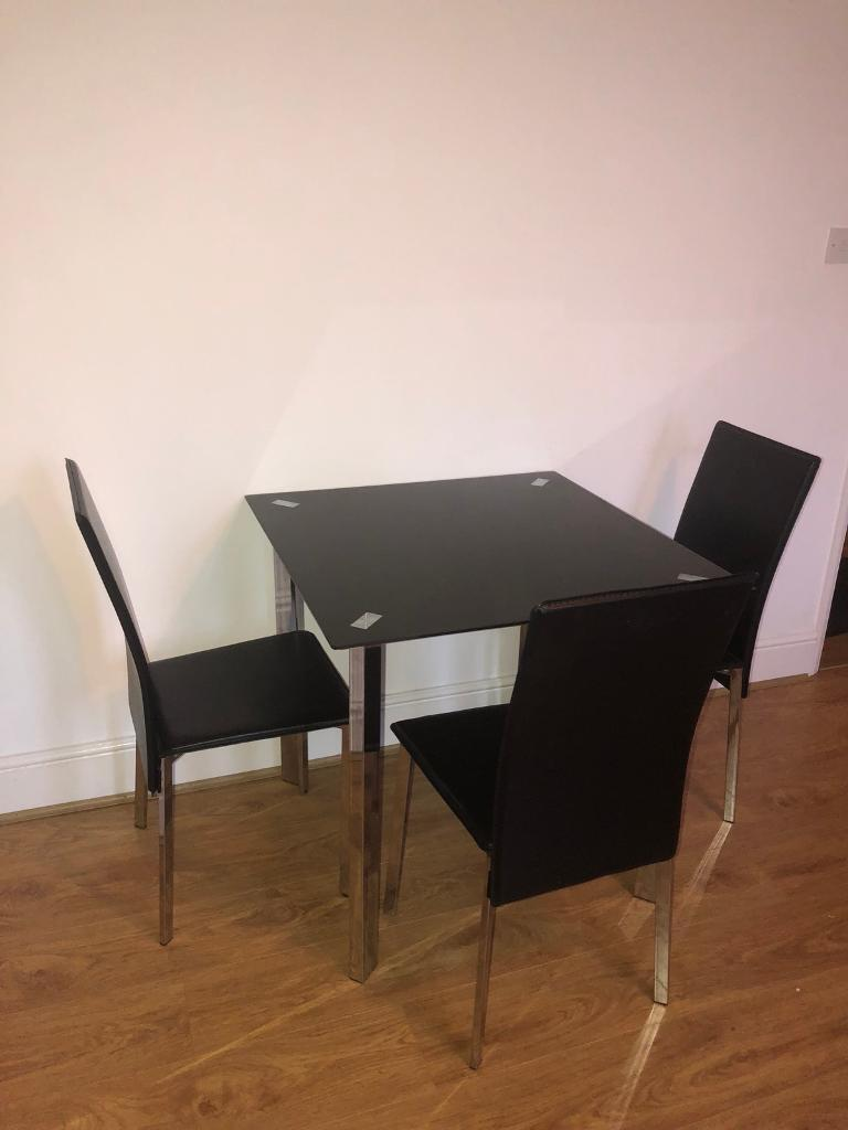 Black Glass Dining Table With 3 Chairs