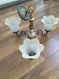 Vintage Three pendant brass light fitting chandelier with flower shades
