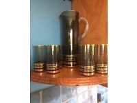 Vintage glass jug and 6 glasses