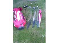 Golf Clubs, Golf Bag, Golf Balls and Umbrella