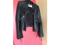 Womens leather topshop brand jacket size 14 on sale: £15 house clearence/cheap/jumper