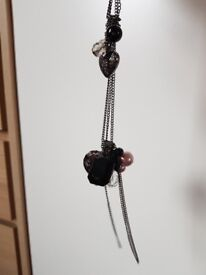 Necklace black slate grey purple heart lock chain necklace accessories