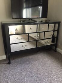 Black mirrored 9 chest of drawers