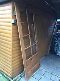 4 x pine doors with glass windows and 1 pine door