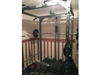 Home gym setup power rack 200kgs Olympic plates